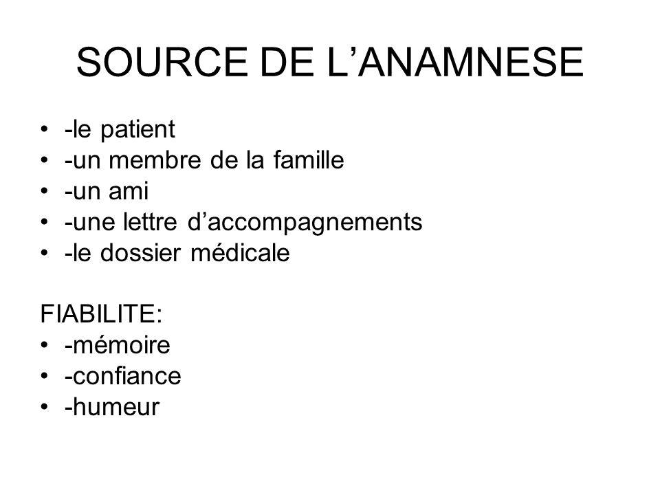SOURCE DE LANAMNESE -le patient -un membre de la famille -un ami -une lettre daccompagnements -le dossier médicale FIABILITE: -mémoire -confiance -hum