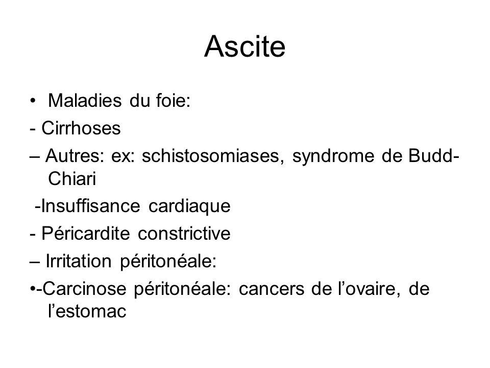 Ascite Maladies du foie: - Cirrhoses – Autres: ex: schistosomiases, syndrome de Budd- Chiari -Insuffisance cardiaque - Péricardite constrictive – Irri