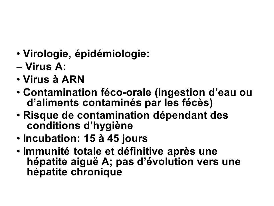 Virologie, épidémiologie: – Virus A: Virus à ARN Contamination féco-orale (ingestion deau ou daliments contaminés par les fécès) Risque de contaminati