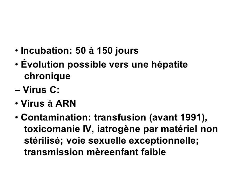Incubation: 50 à 150 jours Évolution possible vers une hépatite chronique – Virus C: Virus à ARN Contamination: transfusion (avant 1991), toxicomanie