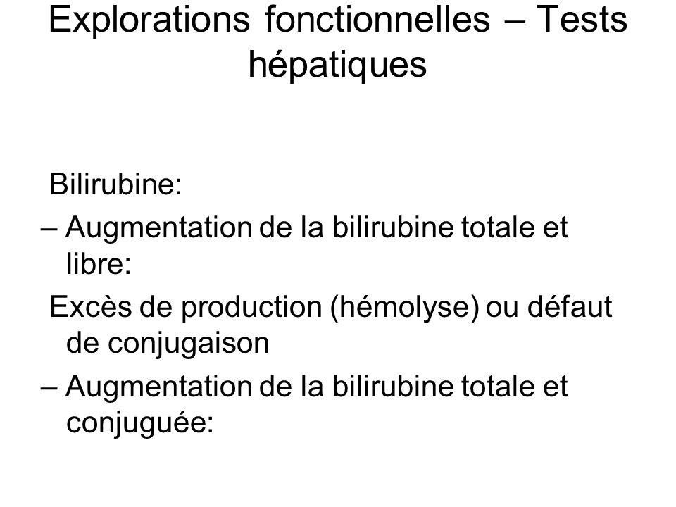 Explorations fonctionnelles – Tests hépatiques Bilirubine: – Augmentation de la bilirubine totale et libre: Excès de production (hémolyse) ou défaut d