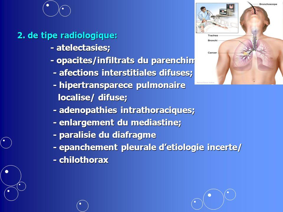 2. de tipe radiologique: - atelectasies; - atelectasies; - opacites/infiltrats du parenchim; - opacites/infiltrats du parenchim; - afections interstit