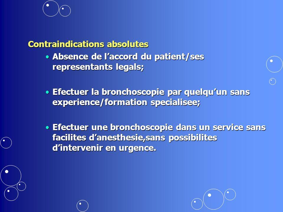Contraindications - Disfonction ventilatoire obstructive severe (Asthme instabile a VEMS < 30% ) - Disfonction ventilatoire obstructive severe (Asthme instabile a VEMS < 30% ) - Hipoxemie severe (< 65 mm PO 2 apres oxigenotherapie).