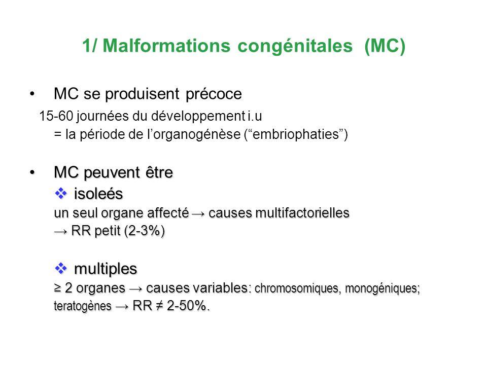 1/ Malformations congénitales (MC) MC se produisent précoce 15-60 journées du développement i.u = la période de lorganogénèse (embriophaties) MC peuve