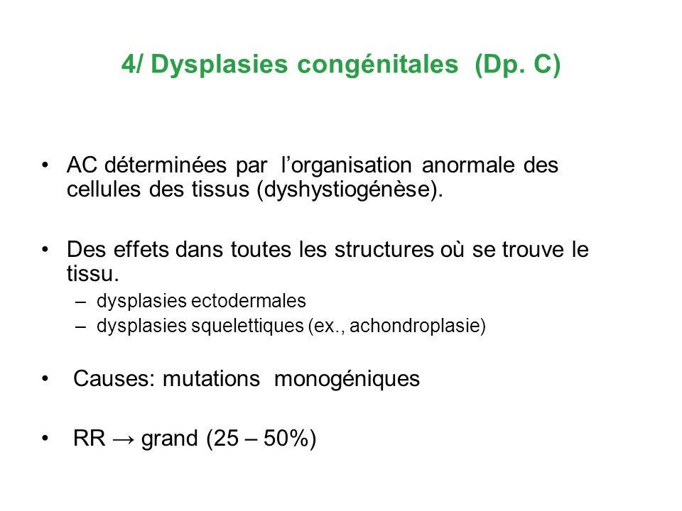 4/ Dysplasies congénitales (Dp. C) AC déterminées par lorganisation anormale des cellules des tissus (dyshystiogénèse). Des effets dans toutes les str