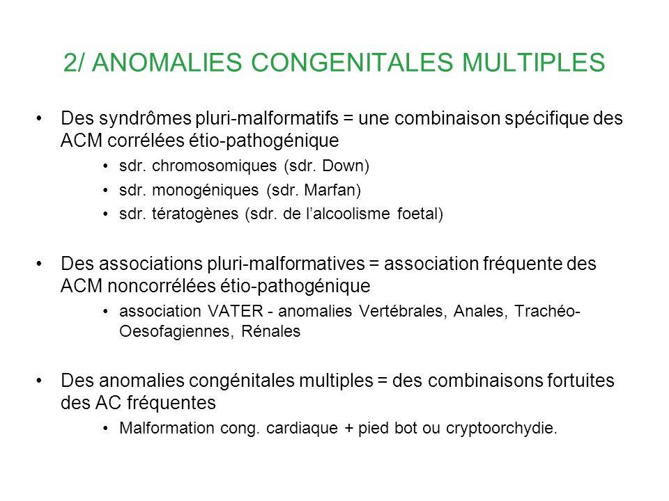 2/ ANOMALIES CONGENITALES MULTIPLES Des syndrômes pluri-malformatifs = une combinaison spécifique des ACM corrélées étio-pathogénique sdr. chromosomiq