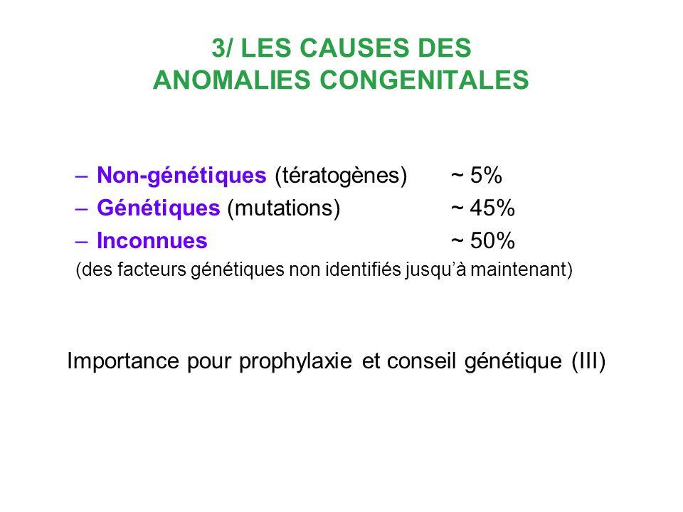 3/ LES CAUSES DES ANOMALIES CONGENITALES –Non-génétiques (tératogènes) ~ 5% –Génétiques (mutations) ~ 45% –Inconnues ~ 50% (des facteurs génétiques no