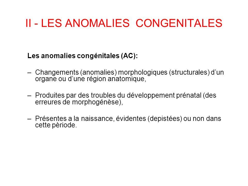II - LES ANOMALIES CONGENITALES Les anomalies congénitales (AC): –Changements (anomalies) morphologiques (structurales) dun organe ou dune région anat