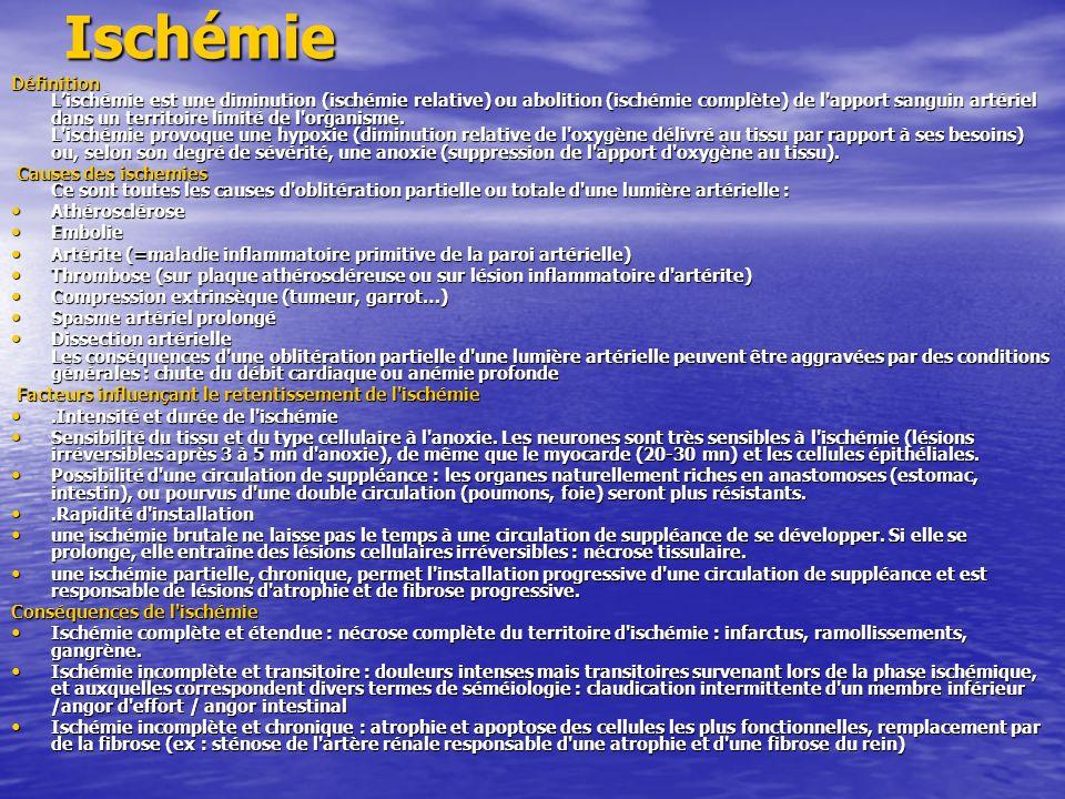 Ischémie Définition Lischémie est une diminution (ischémie relative) ou abolition (ischémie complète) de l'apport sanguin artériel dans un territoire