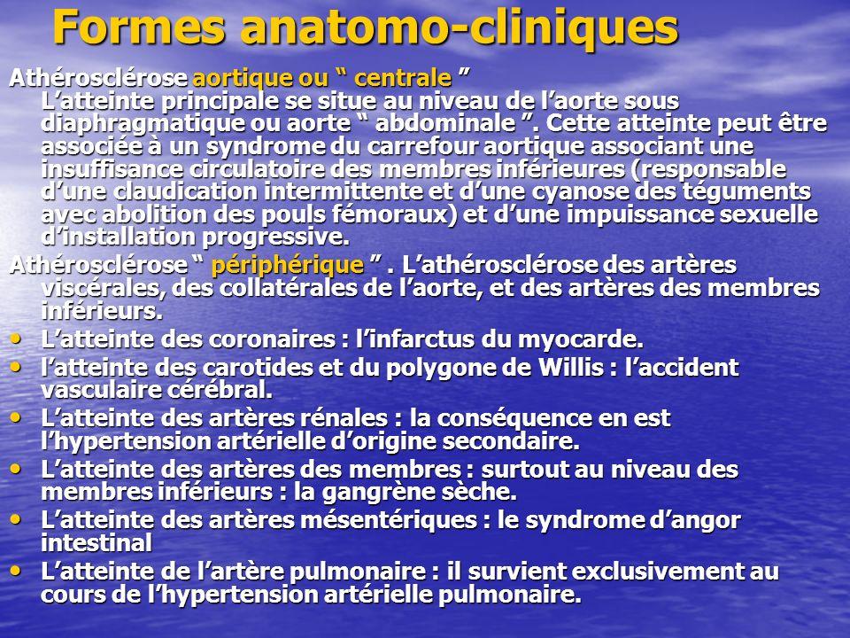 Formes anatomo-cliniques Athérosclérose aortique ou centrale Latteinte principale se situe au niveau de laorte sous diaphragmatique ou aorte abdominal