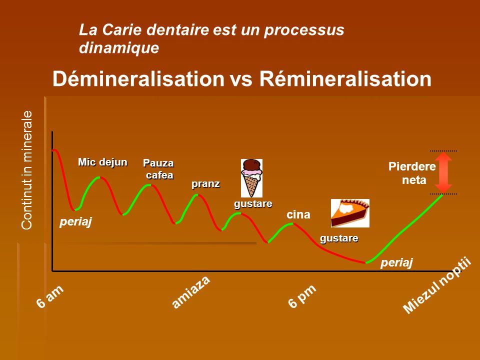 La Carie dentaire est un processus dinamique Démineralisation vs Rémineralisation Mic dejun pranz Pauzacafea gustare cina gustare Miezul noptii 6 am p