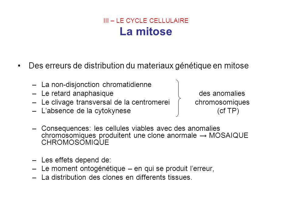 III – LE CYCLE CELLULAIRE La mitose Des erreurs de distribution du materiaux génétique en mitose –La non-disjonction chromatidienne –Le retard anaphas