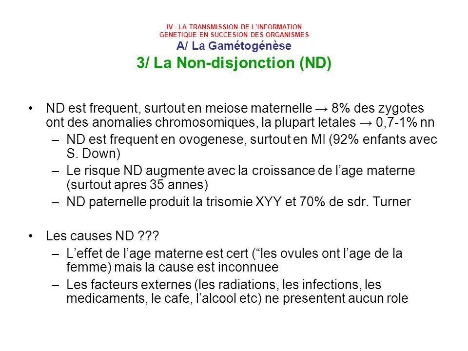 IV - LA TRANSMISSION DE LINFORMATION GENETIQUE EN SUCCESION DES ORGANISMES A/ La Gamétogénèse 3/ La Non-disjonction (ND) ND est frequent, surtout en m