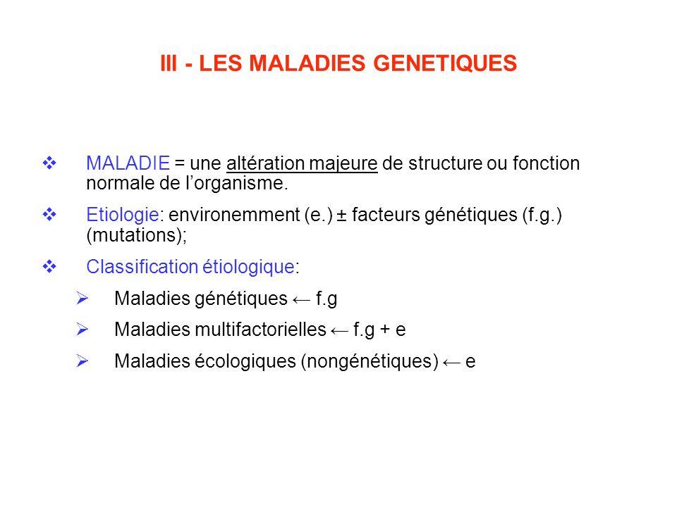 III - LES MALADIES GENETIQUES MALADIE = une altération majeure de structure ou fonction normale de lorganisme. Etiologie: environemment (e.) ± facteur