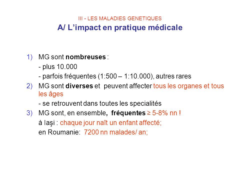 III - LES MALADIES GENETIQUES A/ Limpact en pratique médicale 1)MG sont nombreuses : - plus 10.000 - parfois fréquentes (1:500 – 1:10.000), autres rar