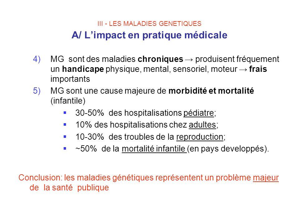 III - LES MALADIES GENETIQUES A/ Limpact en pratique médicale 4)MG sont des maladies chroniques produisent fréquement un handicape physique, mental, s