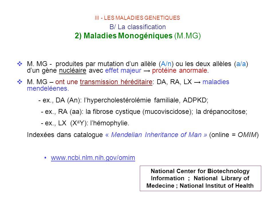 III - LES MALADIES GENETIQUES B/ La classification 2) Maladies Monogéniques (M.MG) M. MG - produites par mutation dun allèle (A/n) ou les deux allèles