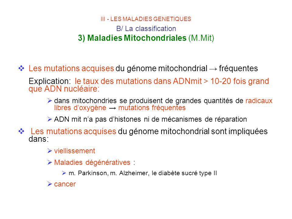 Les mutations acquises du génome mitochondrial fréquentes Explication: le taux des mutations dans ADNmit > 10-20 fois grand que ADN nucléaire: dans mi