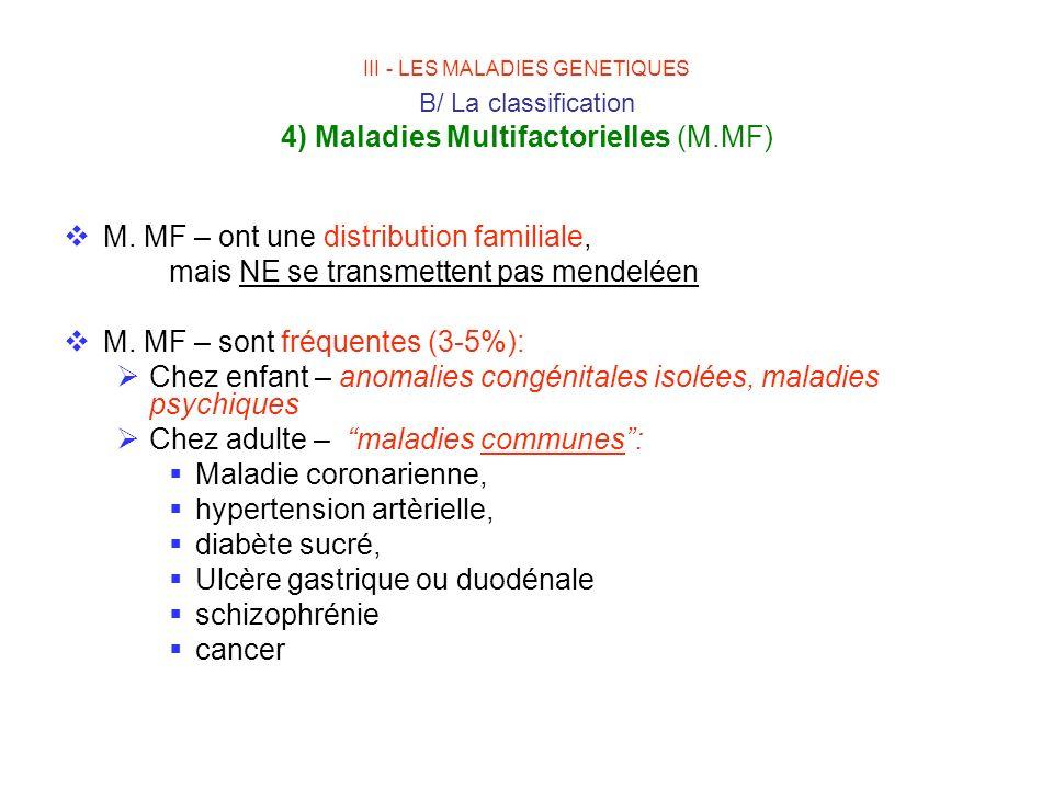 M. MF – ont une distribution familiale, mais NE se transmettent pas mendeléen M. MF – sont fréquentes (3-5%): Chez enfant – anomalies congénitales iso