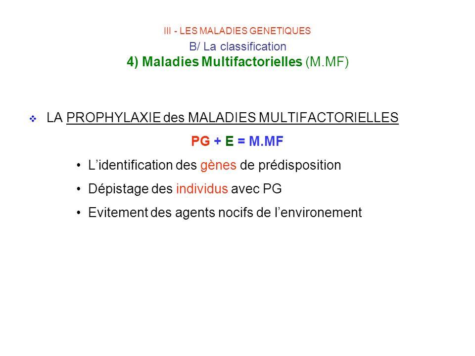 LA PROPHYLAXIE des MALADIES MULTIFACTORIELLES PG + E = M.MF Lidentification des gènes de prédisposition Dépistage des individus avec PG Evitement des