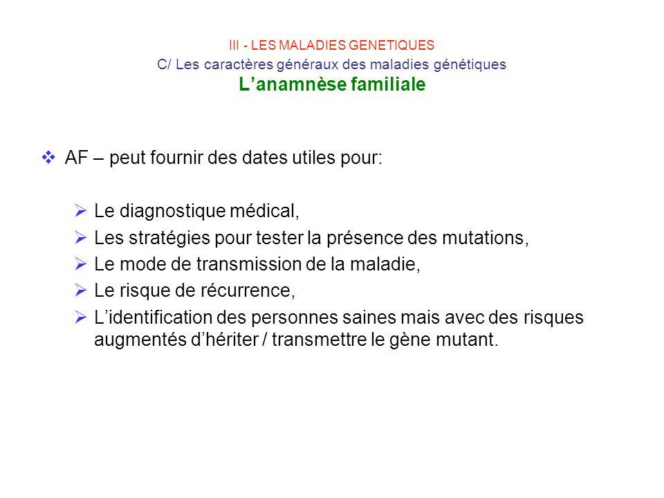 III - LES MALADIES GENETIQUES C/ Les caractères généraux des maladies génétiques Lanamnèse familiale AF – peut fournir des dates utiles pour: Le diagn