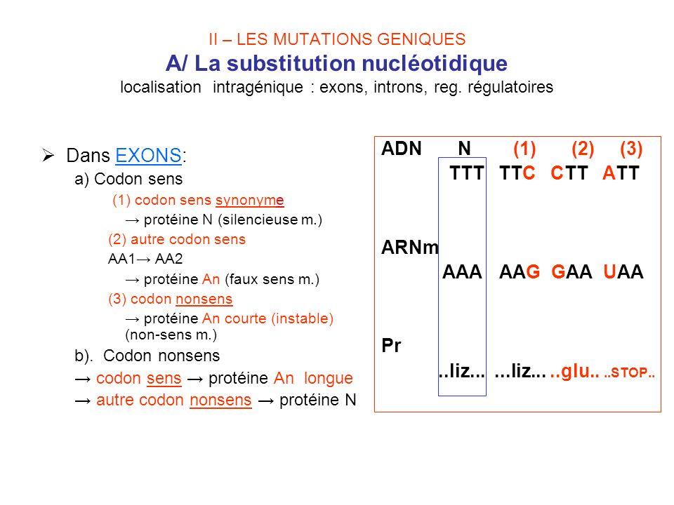 II – LES MUTATIONS GENIQUES A/ La substitution nucléotidique localisation intragénique : exons, introns, reg. régulatoires Dans EXONS: a) Codon sens (