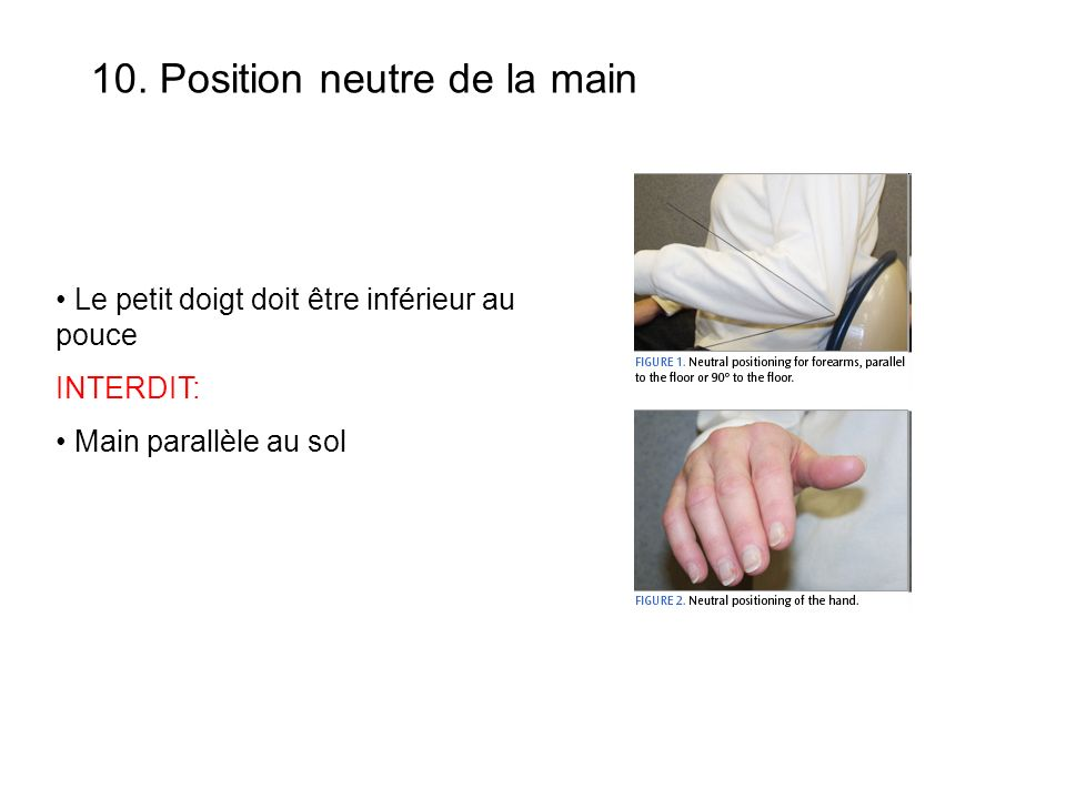 Le petit doigt doit être inférieur au pouce INTERDIT: Main parallèle au sol 10.
