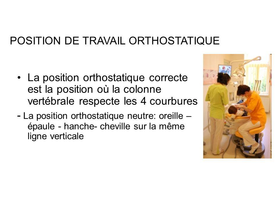 La position orthostatique correcte est la position où la colonne vertébrale respecte les 4 courbures - La position orthostatique neutre: oreille – épaule - hanche- cheville sur la même ligne verticale POSITION DE TRAVAIL ORTHOSTATIQUE