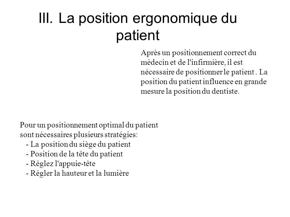 III. La position ergonomique du patient Après un positionnement correct du médecin et de l'infirmière, il est nécessaire de positionner le patient. La