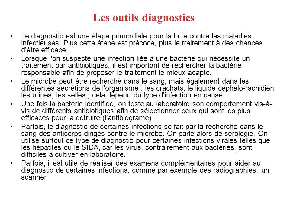 Les outils diagnostics Le diagnostic est une étape primordiale pour la lutte contre les maladies infectieuses. Plus cette étape est précoce, plus le t