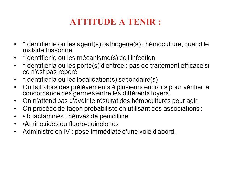 ATTITUDE A TENIR : *Identifier le ou les agent(s) pathogène(s) : hémoculture, quand le malade frissonne *Identifier le ou les mécanisme(s) de l'infect