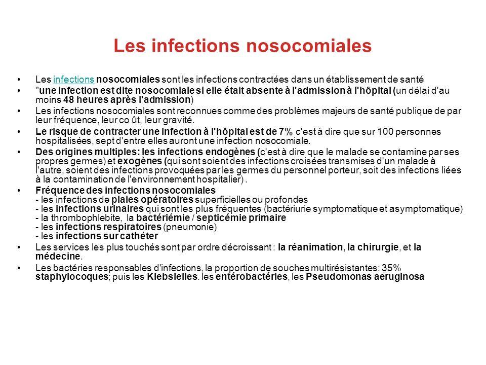 Les infections nosocomiales Les infections nosocomiales sont les infections contractées dans un établissement de santéinfections