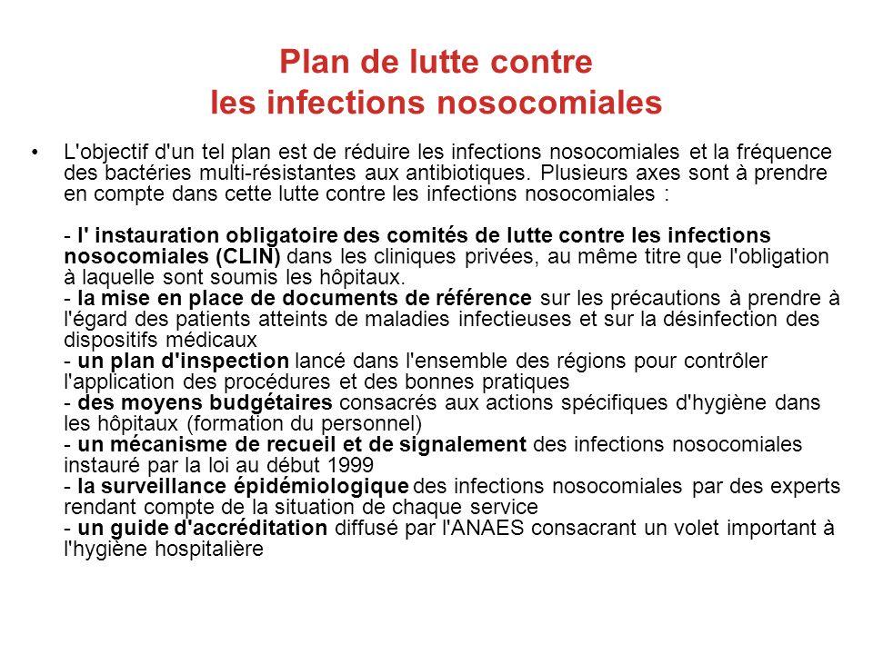 Plan de lutte contre les infections nosocomiales L'objectif d'un tel plan est de réduire les infections nosocomiales et la fréquence des bactéries mul