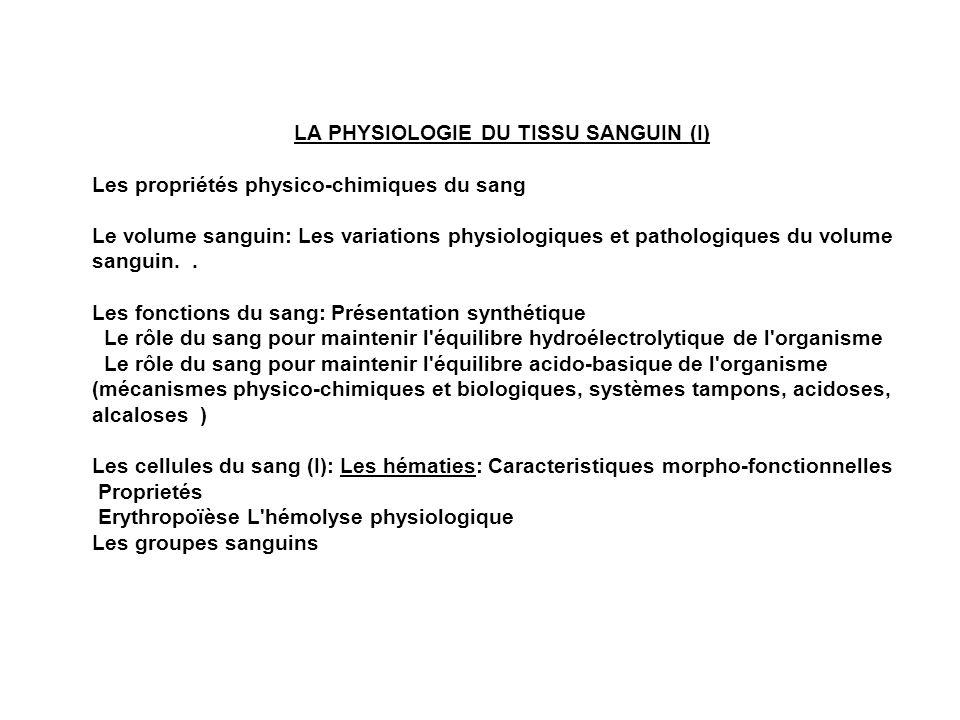 LA PHYSIOLOGIE DU TISSU SANGUIN (I) Les propriétés physico-chimiques du sang Le volume sanguin: Les variations physiologiques et pathologiques du volu