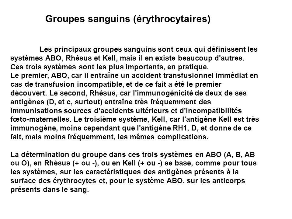Groupes sanguins (érythrocytaires) Les principaux groupes sanguins sont ceux qui définissent les systèmes ABO, Rhésus et Kell, mais il en existe beauc