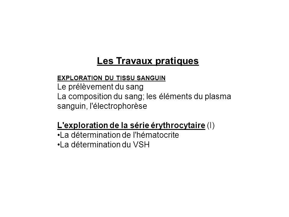 Les Travaux pratiques EXPLORATION DU TISSU SANGUIN Le prélèvement du sang La composition du sang; les éléments du plasma sanguin, l'électrophorèse L'e