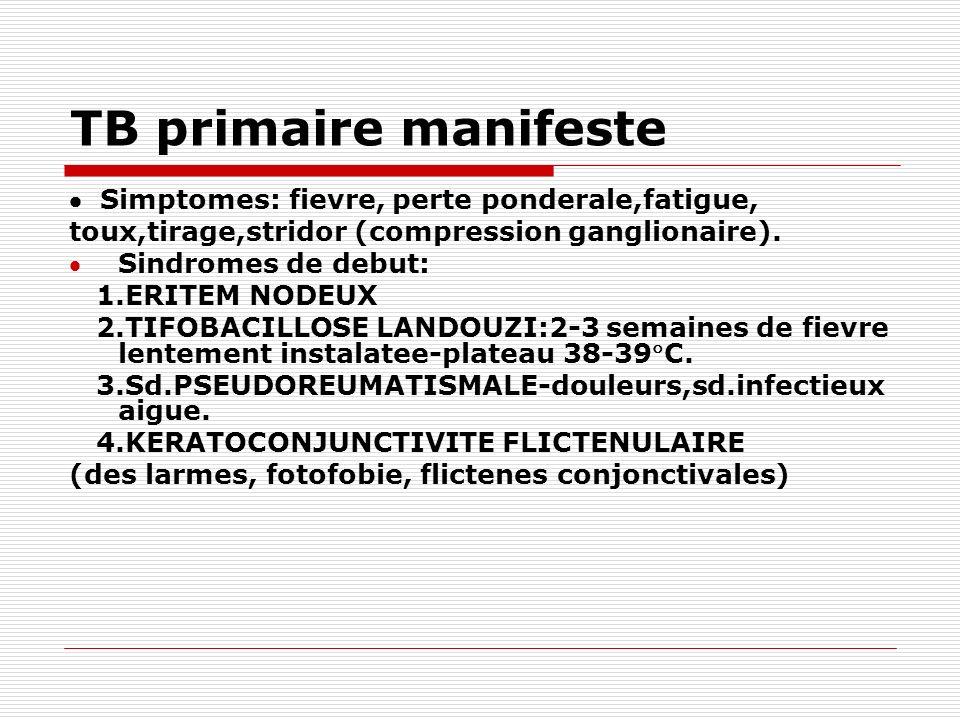 TB primaire manifeste Simptomes: fievre, perte ponderale,fatigue, toux,tirage,stridor (compression ganglionaire). Sindromes de debut: 1.ERITEM NODEUX