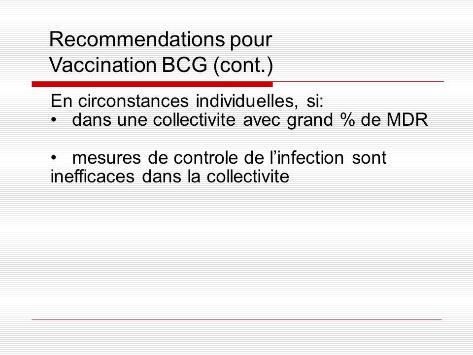 Recommendations pour Vaccination BCG (cont.) En circonstances individuelles, si: dans une collectivite avec grand % de MDR mesures de controle de linf