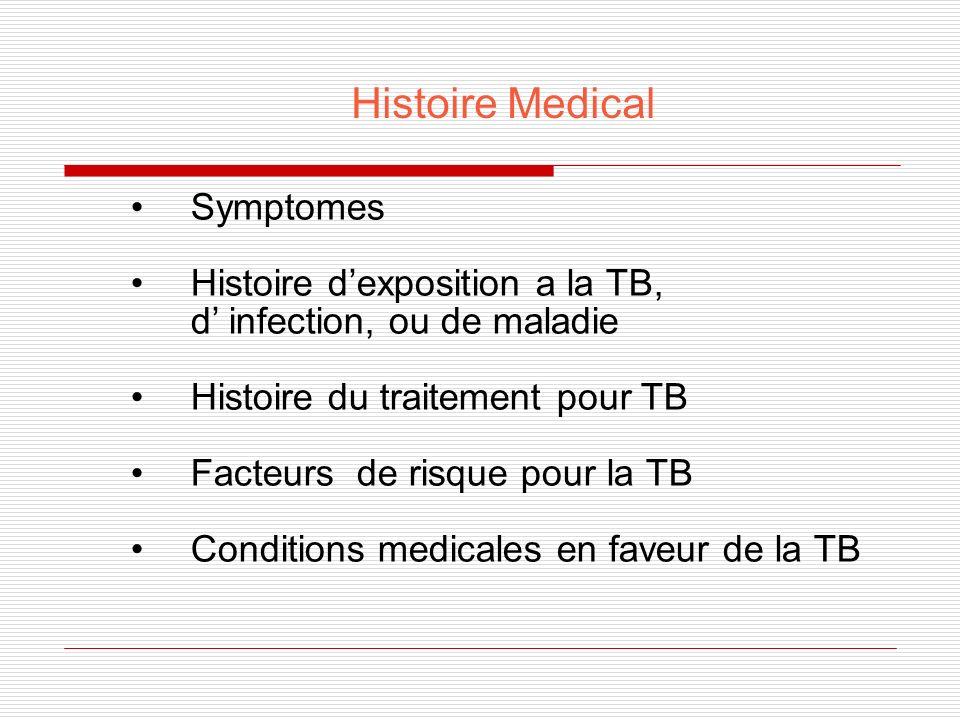 Symptomes de la TB Pulmonaire Toux persistante, productive (duré de $ 3 weeks) Douleur thoracique Hémoptysie