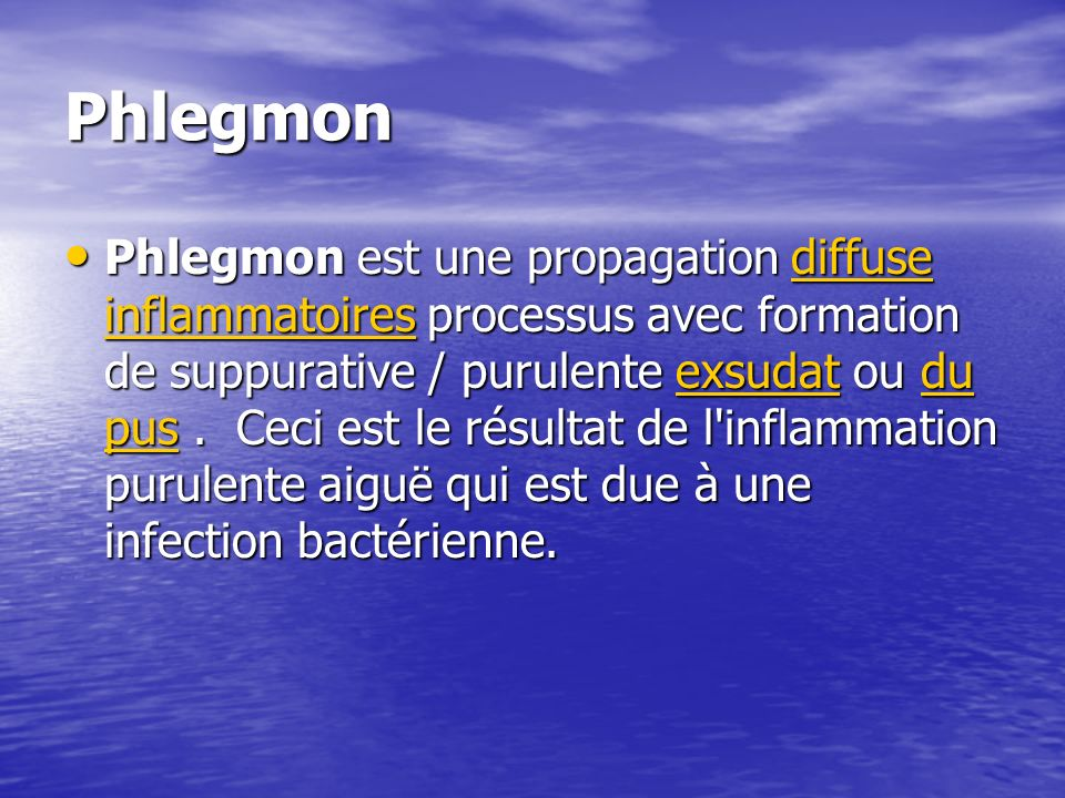 Phlegmon Phlegmon est une propagation diffuse inflammatoires processus avec formation de suppurative / purulente exsudat ou du pus. Ceci est le résult