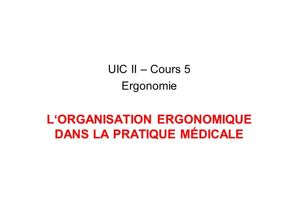 UIC II – Cours 5 Ergonomie LORGANISATION ERGONOMIQUE DANS LA PRATIQUE MÉDICALE