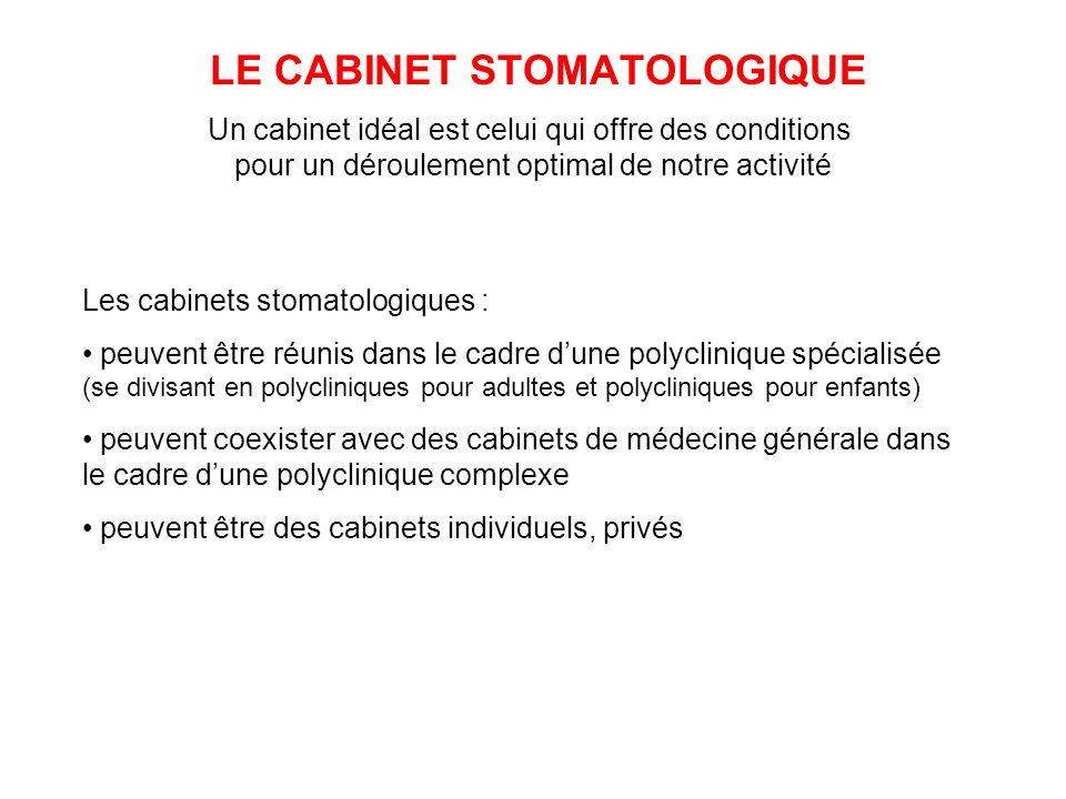 LE CABINET STOMATOLOGIQUE Un cabinet idéal est celui qui offre des conditions pour un déroulement optimal de notre activité Les cabinets stomatologiqu