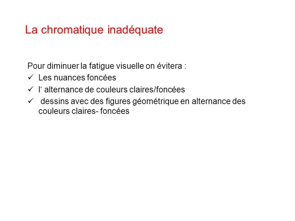 La chromatique inadéquate Pour diminuer la fatigue visuelle on évitera : Les nuances foncées l alternance de couleurs claires/foncées dessins avec des