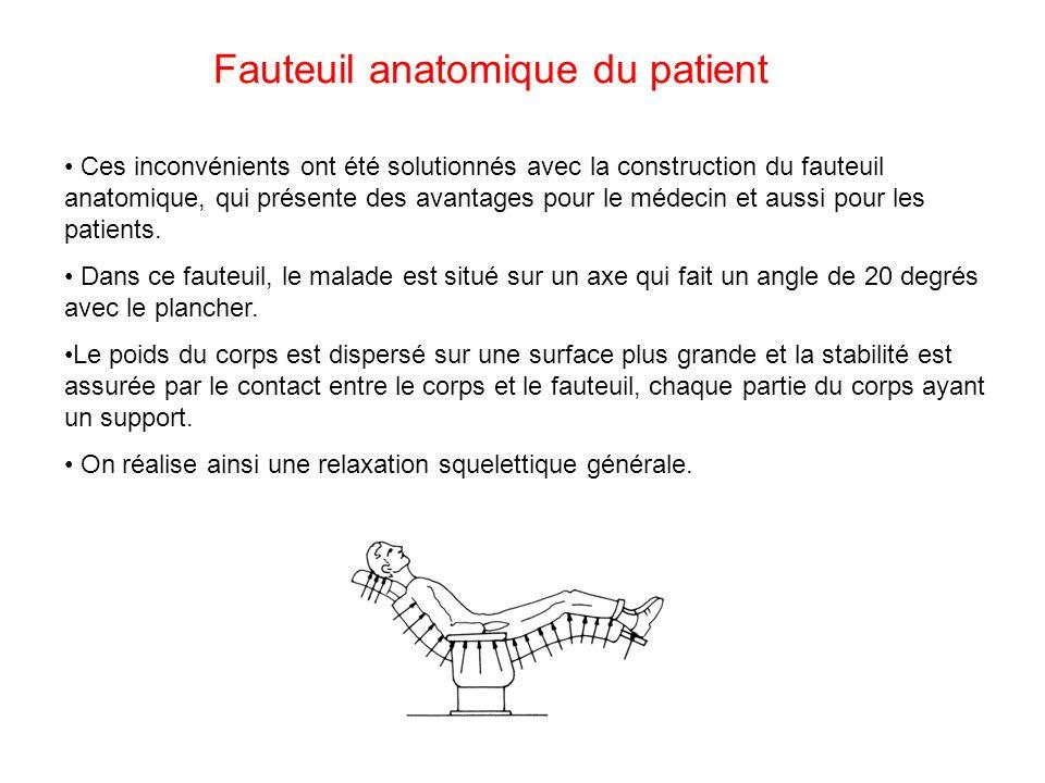 Fauteuil anatomique du patient Ces inconvénients ont été solutionnés avec la construction du fauteuil anatomique, qui présente des avantages pour le m
