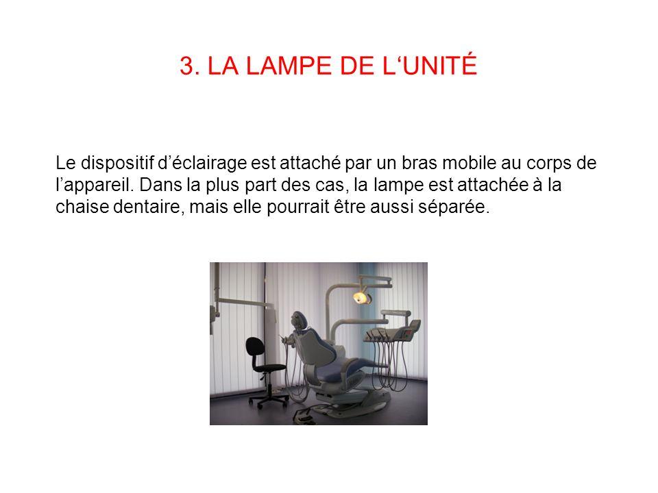 3. LA LAMPE DE LUNITÉ Le dispositif déclairage est attaché par un bras mobile au corps de lappareil. Dans la plus part des cas, la lampe est attachée