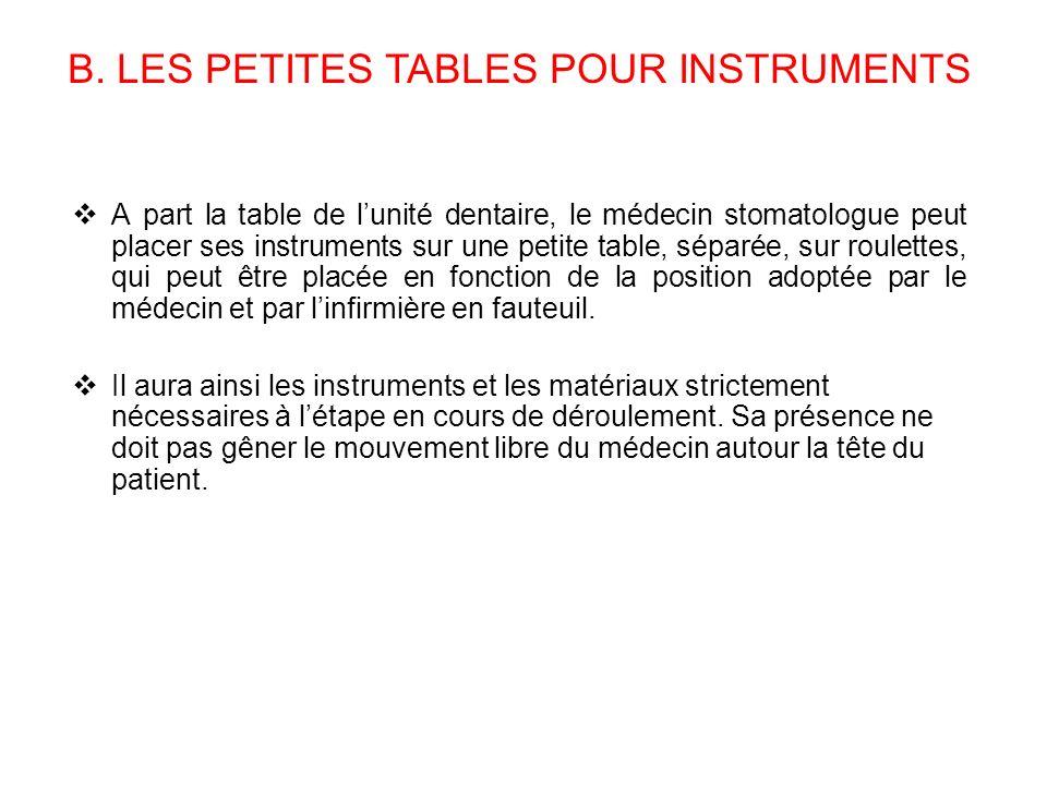 A part la table de lunité dentaire, le médecin stomatologue peut placer ses instruments sur une petite table, séparée, sur roulettes, qui peut être pl