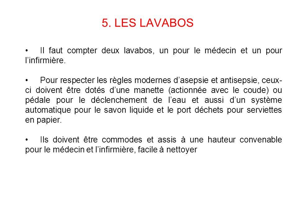 5. LES LAVABOS Il faut compter deux lavabos, un pour le médecin et un pour linfirmière. Pour respecter les règles modernes dasepsie et antisepsie, ceu