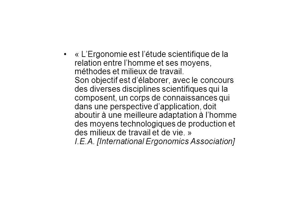 « LErgonomie est létude scientifique de la relation entre lhomme et ses moyens, méthodes et milieux de travail.