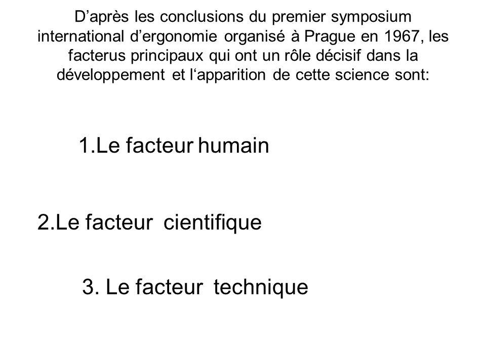 Daprès les conclusions du premier symposium international dergonomie organisé à Prague en 1967, les facterus principaux qui ont un rôle décisif dans la développement et lapparition de cette science sont: 1.Le facteur humain 2.Le facteur cientifique 3.