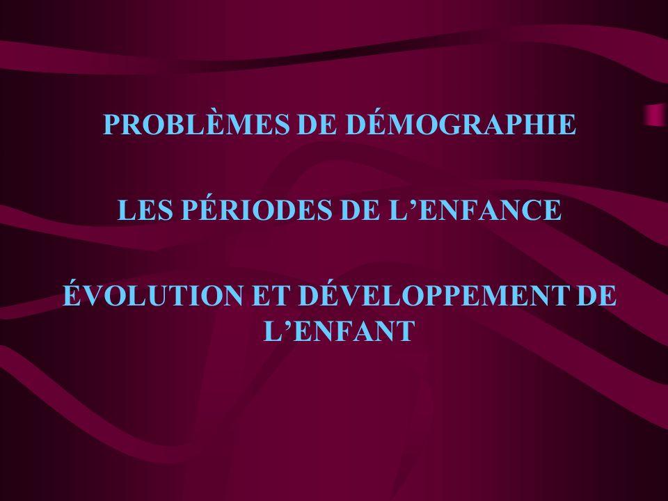 PROBLÈMES DE DÉMOGRAPHIE LES PÉRIODES DE LENFANCE ÉVOLUTION ET DÉVELOPPEMENT DE LENFANT